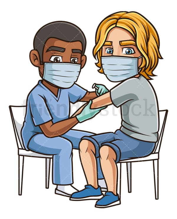 Man getting vaccinated for covid-19. PNG - JPG and vector EPS (infinitely scalable).