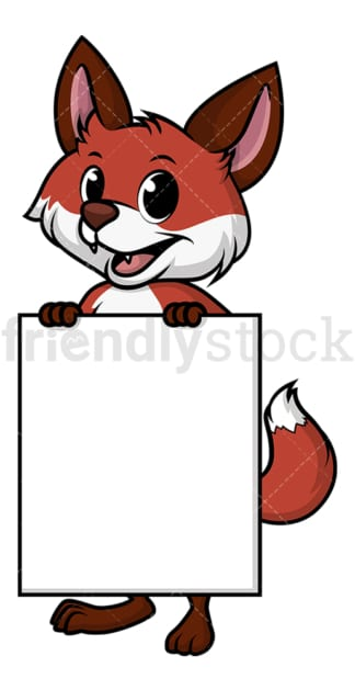 Fox holding blank poster. PNG - JPG and vector EPS file formats (infinitely scalable). Image isolated on transparent background.