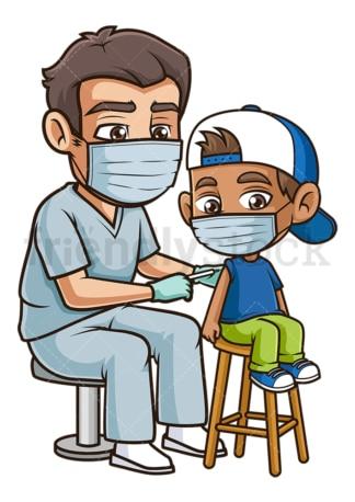 Hispanic boy getting coronavirus vaccine. PNG - JPG and vector EPS (infinitely scalable).