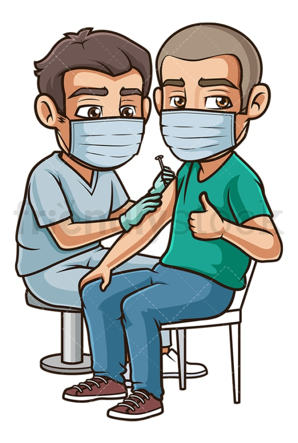 Hispanic man getting coronavirus vaccine. PNG - JPG and vector EPS (infinitely scalable).