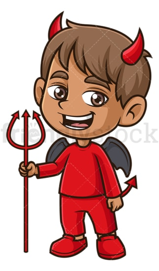 Kid devil costume halloween. PNG - JPG and vector EPS (infinitely scalable).
