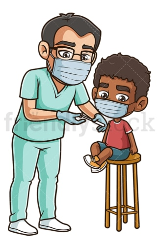 Black boy getting covid-19 vaccine. PNG - JPG and vector EPS (infinitely scalable).