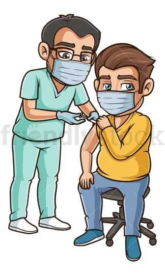 Chubby man getting covid vaccine. PNG - JPG and vector EPS (infinitely scalable).