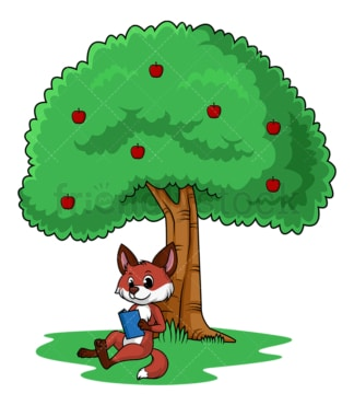 Fox under tree reading book. PNG - JPG and vector EPS file formats (infinitely scalable). Image isolated on transparent background.