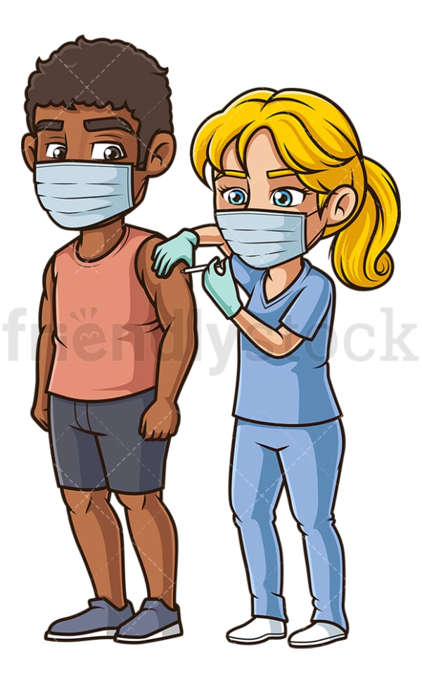 Black man getting covid-19 vaccine. PNG - JPG and vector EPS (infinitely scalable).