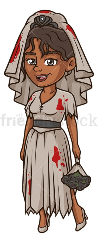 Black woman bloody bride costume. PNG - JPG and vector EPS (infinitely scalable).