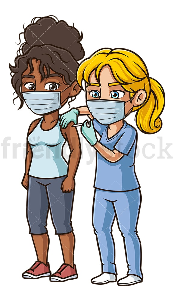 Black woman getting covid-19 vaccine. PNG - JPG and vector EPS (infinitely scalable).