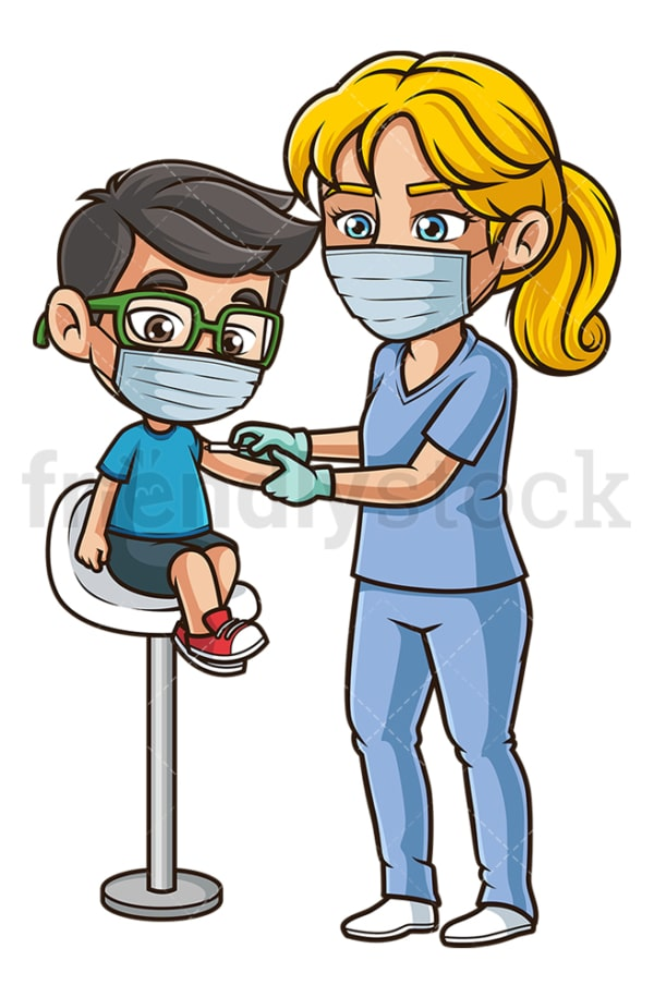 Kid getting covid-19 vaccine. PNG - JPG and vector EPS (infinitely scalable).