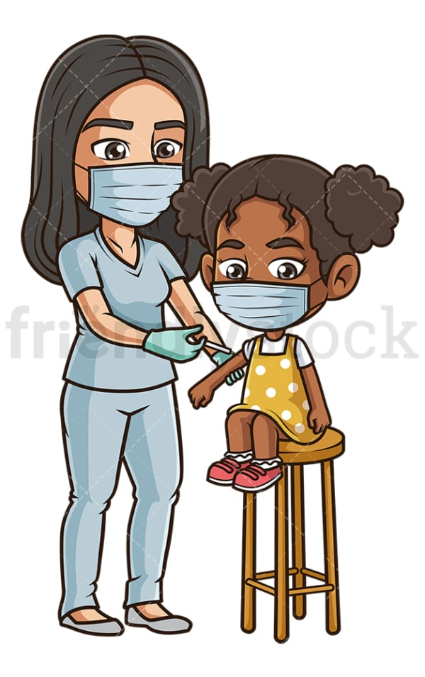 Black girl getting covid-19 vaccine. PNG - JPG and vector EPS (infinitely scalable).