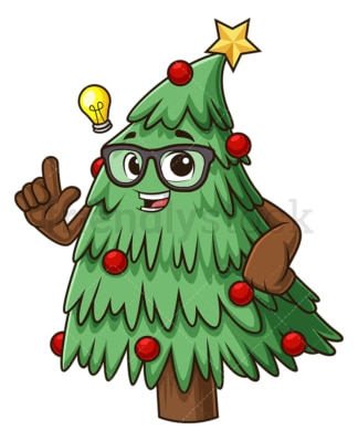 Christmas tree having idea. PNG - JPG and vector EPS (infinitely scalable).
