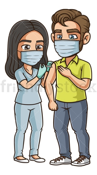 Man getting vaccinated for coronavirus. PNG - JPG and vector EPS (infinitely scalable).