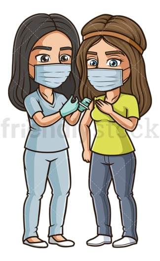Woman getting vaccinated for coronavirus. PNG - JPG and vector EPS (infinitely scalable).