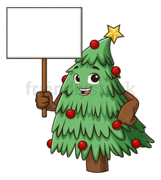 Christmas tree holding blank sign. PNG - JPG and vector EPS (infinitely scalable).