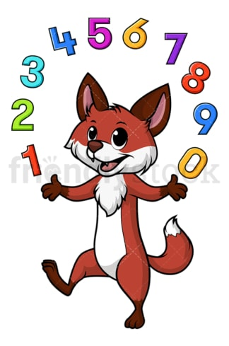 Fox juggling numbers. PNG - JPG and vector EPS file formats (infinitely scalable). Image isolated on transparent background.