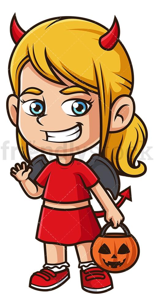 Little girl devil costume. PNG - JPG and vector EPS (infinitely scalable).