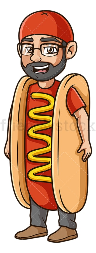 Man hot dog costume. PNG - JPG and vector EPS (infinitely scalable).