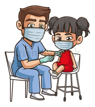 Asian girl getting covid-19 vaccine. PNG - JPG and vector EPS (infinitely scalable).