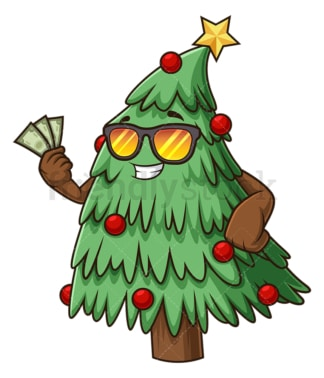Christmas tree holding money. PNG - JPG and vector EPS (infinitely scalable).