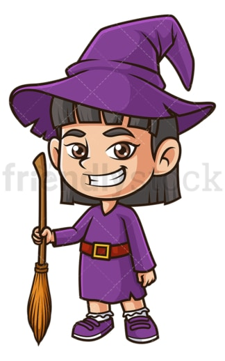 Little girl witch costume. PNG - JPG and vector EPS (infinitely scalable).