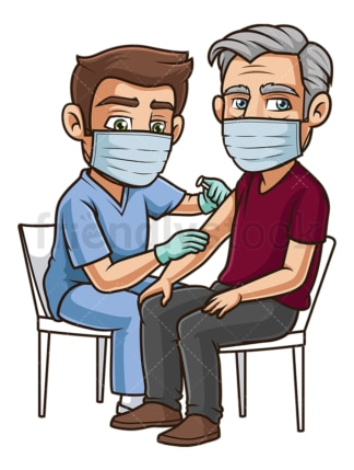 Old man getting vaccinated for covid-19. PNG - JPG and vector EPS (infinitely scalable).