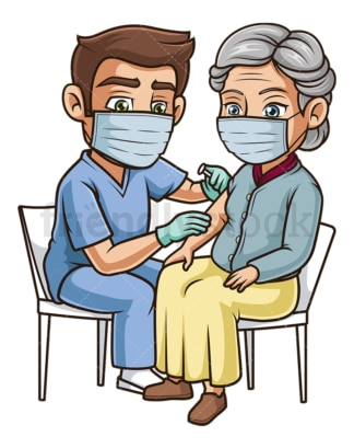 Old woman getting vaccinated covid-19. PNG - JPG and vector EPS (infinitely scalable).