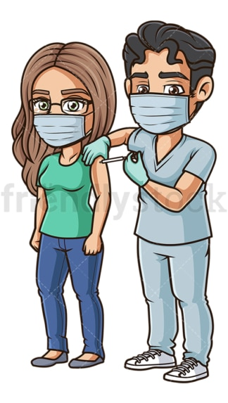 Woman during covid-19 vaccination. PNG - JPG and vector EPS (infinitely scalable).