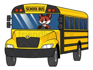 Fox on school bus. PNG - JPG and vector EPS file formats (infinitely scalable). Image isolated on transparent background.