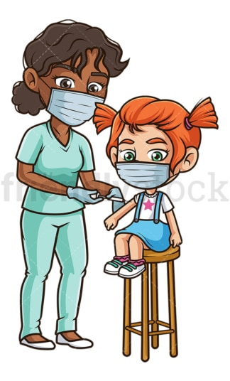 Little girl getting covid-19 vaccine. PNG - JPG and vector EPS (infinitely scalable).