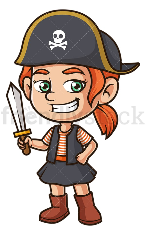 Little girl pirate costume. PNG - JPG and vector EPS (infinitely scalable).
