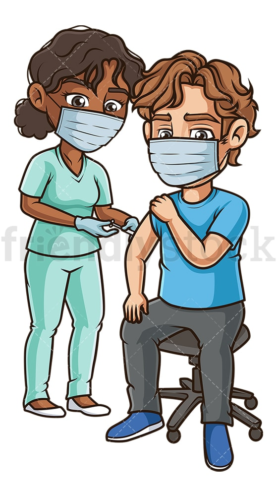 Man during coronavirus vaccination. PNG - JPG and vector EPS (infinitely scalable).