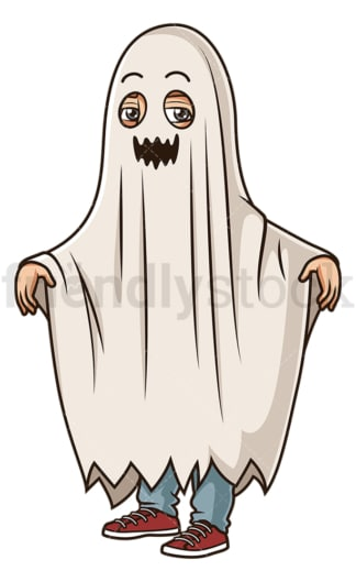 Man wearing ghost costume. PNG - JPG and vector EPS (infinitely scalable).