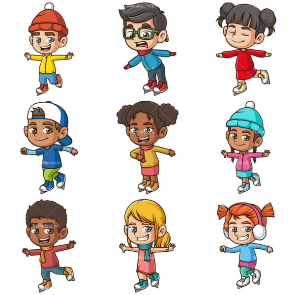 Kids ice skating. PNG - JPG and infinitely scalable vector EPS - on white or transparent background.