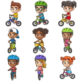 Kids riding bikes. PNG - JPG and infinitely scalable vector EPS - on white or transparent background.