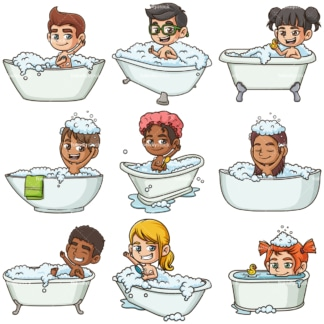 Kids taking a bath. PNG - JPG and infinitely scalable vector EPS - on white or transparent background.