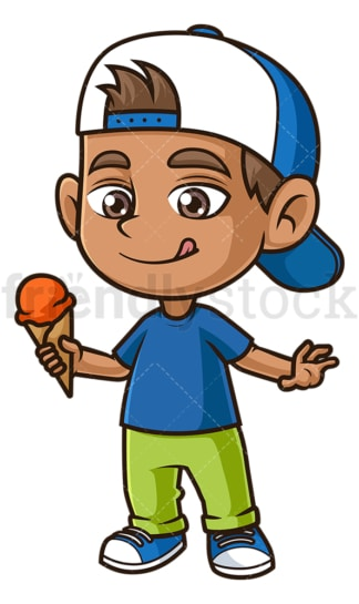 Hispanic boy eating ice cream. PNG - JPG and vector EPS (infinitely scalable).