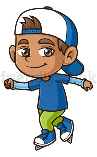 Hispanic boy ice skating. PNG - JPG and vector EPS (infinitely scalable).