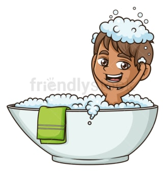Hispanic boy taking a bath. PNG - JPG and vector EPS (infinitely scalable).