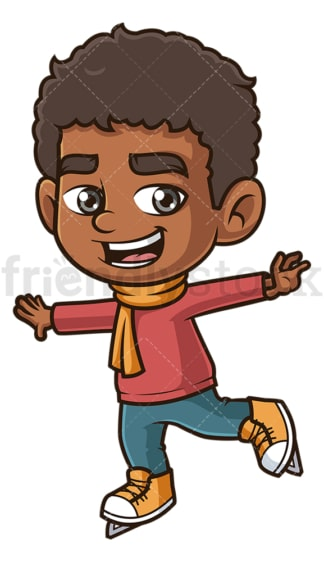 Black boy ice skating. PNG - JPG and vector EPS (infinitely scalable).