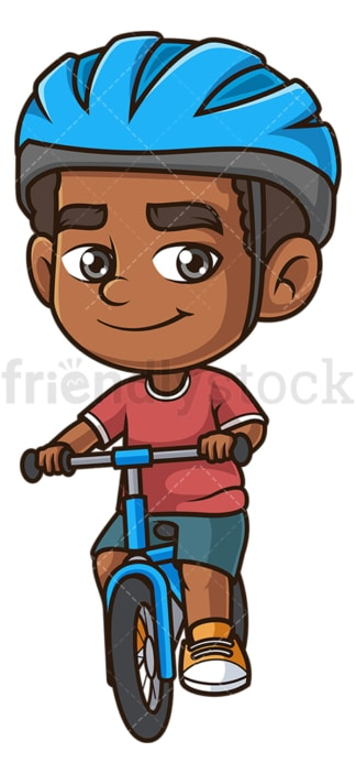 Black boy riding bike. PNG - JPG and vector EPS (infinitely scalable).