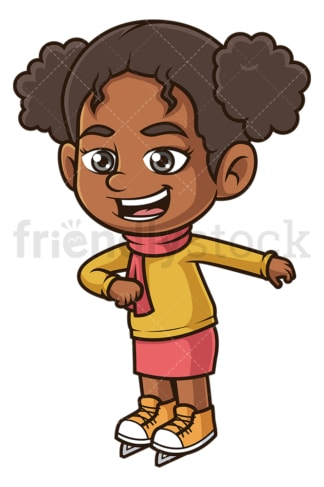 Black girl ice skating. PNG - JPG and vector EPS (infinitely scalable).