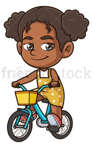 Black girl riding bike. PNG - JPG and vector EPS (infinitely scalable).