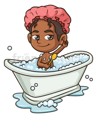 Black girl taking a bath. PNG - JPG and vector EPS (infinitely scalable).