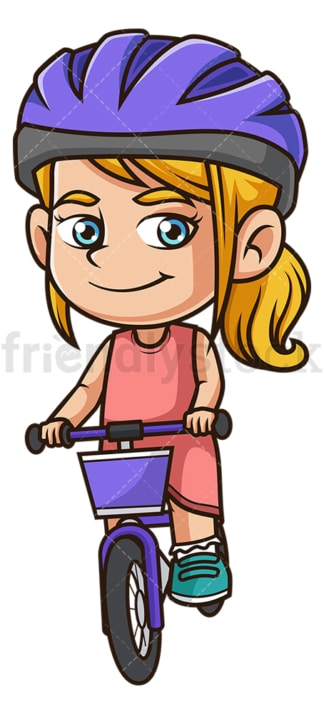 Caucasian girl riding bicycle. PNG - JPG and vector EPS (infinitely scalable).