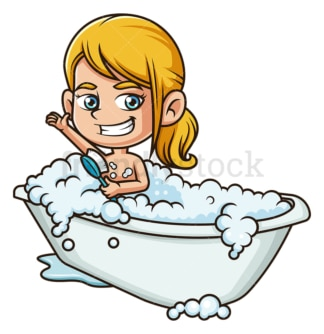 Little girl taking a bath. PNG - JPG and vector EPS (infinitely scalable).