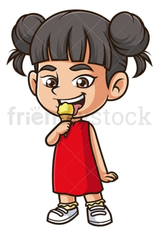 Asian girl eating ice cream. PNG - JPG and vector EPS (infinitely scalable).