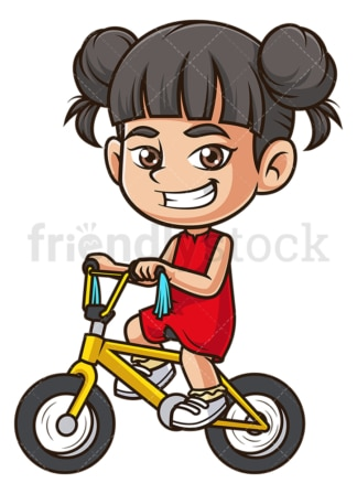 Asian girl riding bike. PNG - JPG and vector EPS (infinitely scalable).