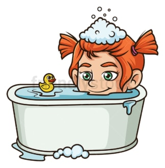 Little girl in bathtub. PNG - JPG and vector EPS (infinitely scalable).