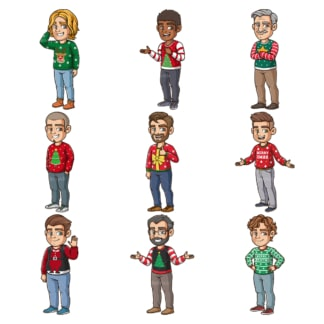 Men wearing ugly christmas sweaters. PNG - JPG and infinitely scalable vector EPS - on white or transparent background.