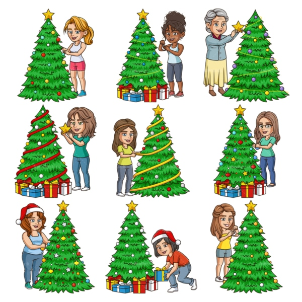 Women decorating christmas trees. PNG - JPG and infinitely scalable vector EPS - on white or transparent background.