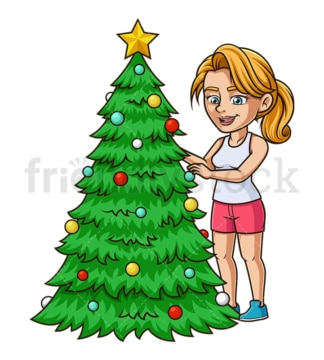 Caucasian woman decorating christmas tree. PNG - JPG and vector EPS (infinitely scalable).